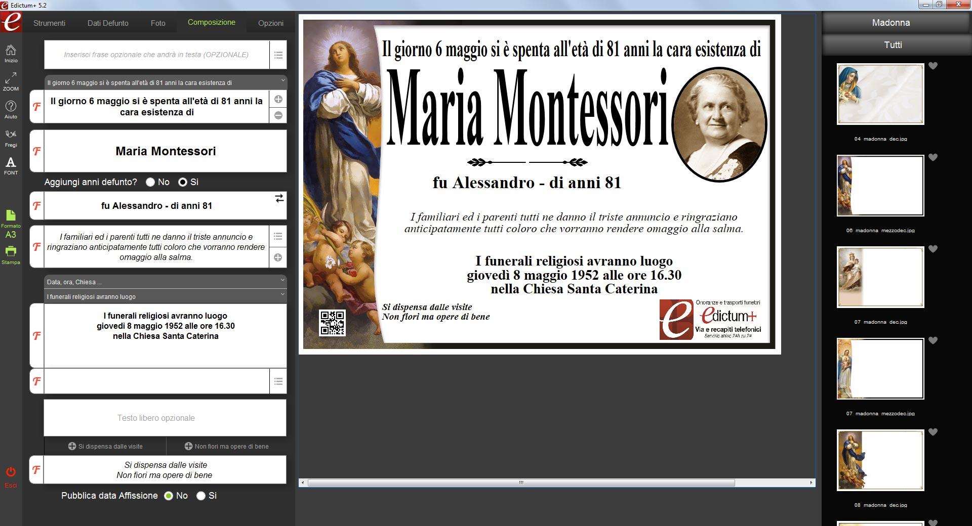 Madonna immacolata screeshoot demo Edictum+ Software per la composizione e la stampa manifesti funebri dei ricordini pagelline ringraziamenti lutto agenzie onoranze funebri Maria Montessori