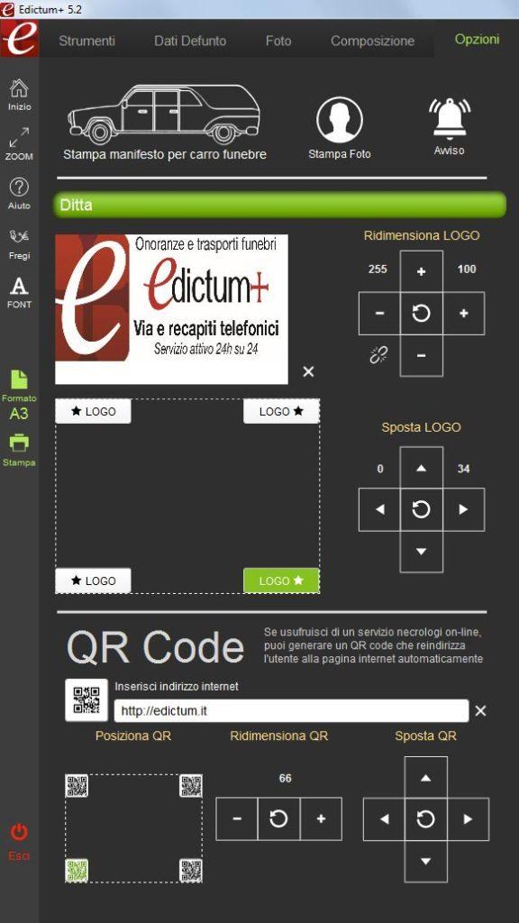 Logo agenzia screeshoot demo Edictum+ Software per la composizione e la stampa manifesti funebri dei ricordini pagelline ringraziamenti lutto agenzie onoranze funebri