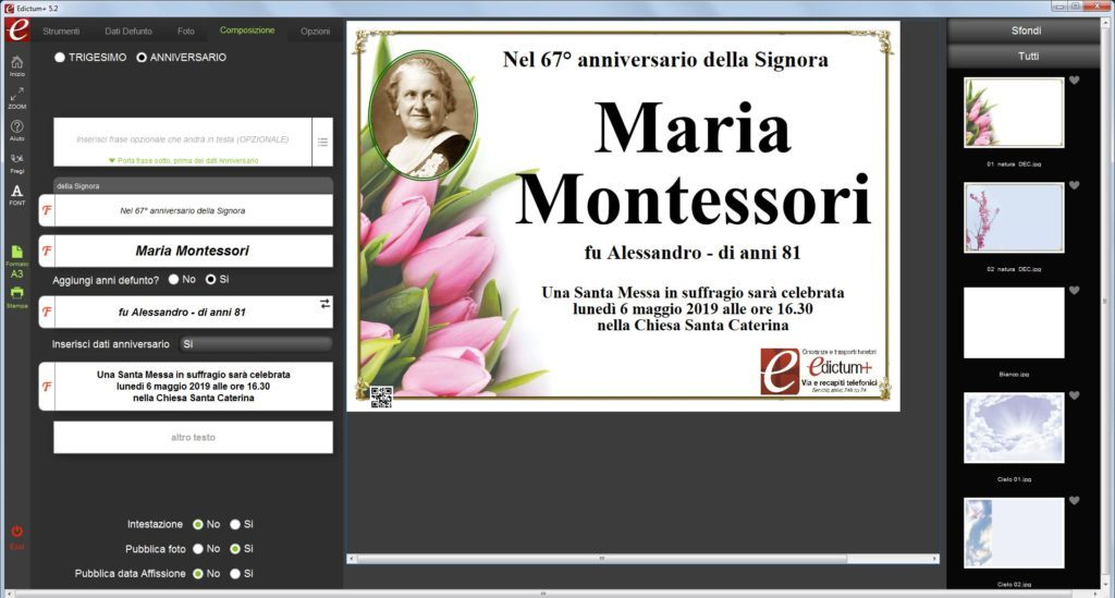 Fiori screeshoot demo Edictum+ Software per la composizione e la stampa manifesti funebri dei ricordini pagelline ringraziamenti lutto agenzie onoranze funebri
