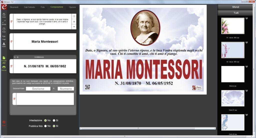 screeshoot demo Edictum+ Software per la composizione e la stampa manifesti funebri dei ricordini pagelline ringraziamenti lutto agenzie onoranze funebri