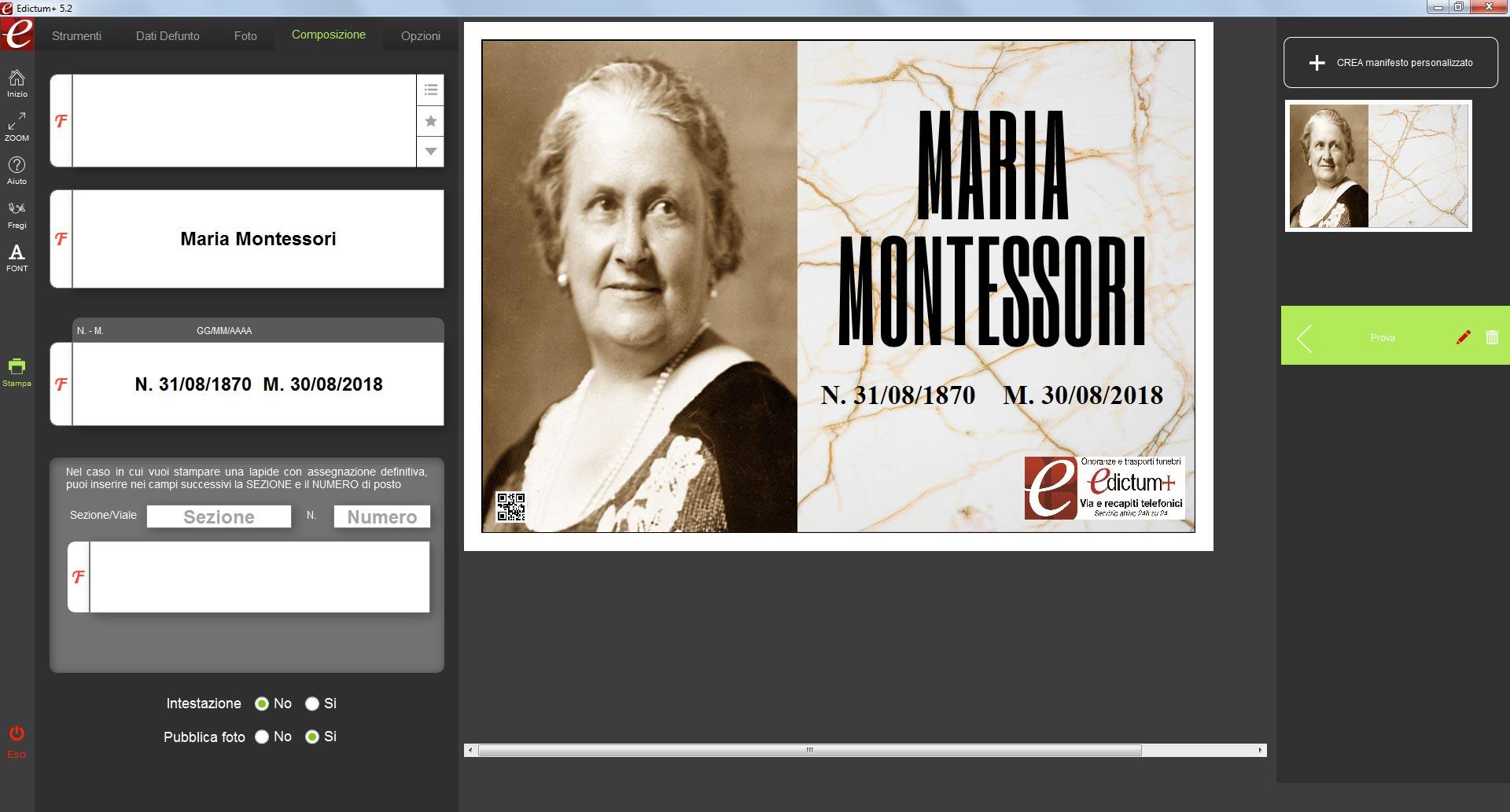 Maria Montessori screeshoot demo Edictum+ Software per la composizione e la stampa manifesti funebri dei ricordini pagelline ringraziamenti lutto agenzie onoranze funebri
